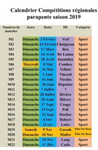 calendrier compet 2019